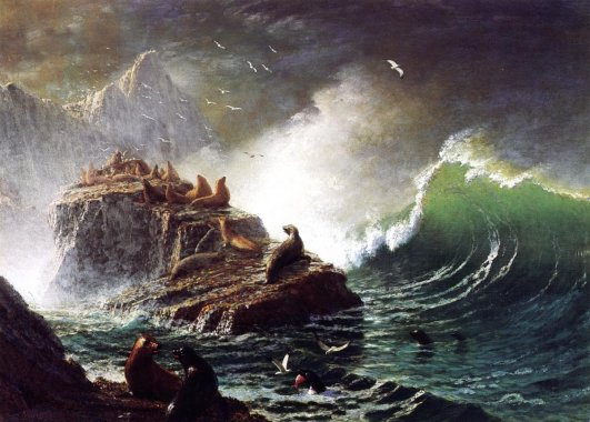 Albert Bierstadt - Seals On The Rocks Farallon Islands