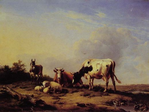 Eugene Joseph Verboeckhoven - A gathering in the pasture