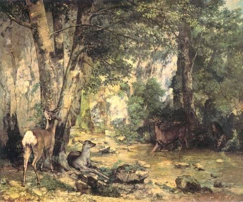 Gustave Courbet - Shelter of the Roe Deer at the Stream of Plaisir-Fontaine, D