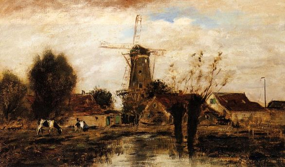 Johann-Barthold Jongkind - Landscape with Windmill