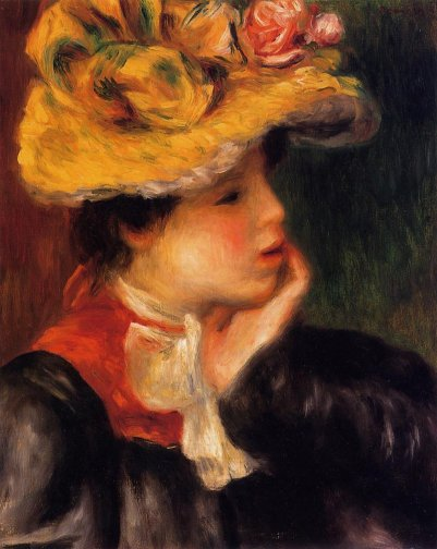 Pierre-Auguste Renoir - Head of a Young Woman aka Yellow Hat