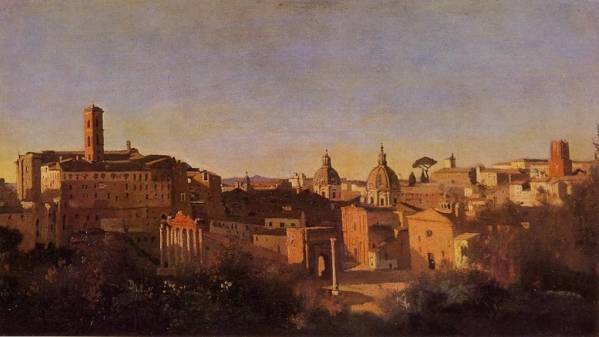 Jean-Baptiste-Camille Corot - Rome, The Forum Seen from the Farnese Gardens, Evening