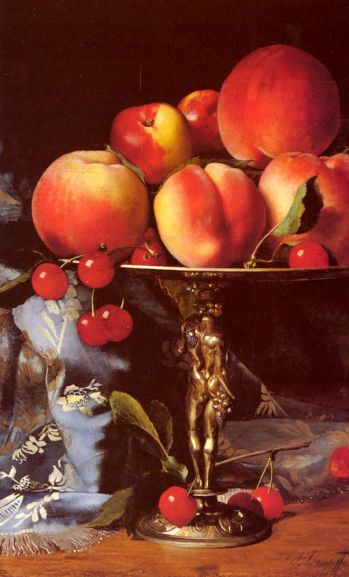 Desgoffe Blaise Alexandre - Still Life with Peaches, Plums and Cherries