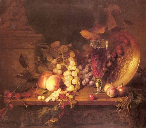Desgoffe Blaise Alexandre - Still Life with Fruit, a Glass of Wine and a Bronze Vessel o