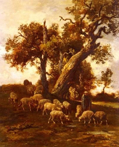 Charles Emile Jacque - Sheep At Pasture