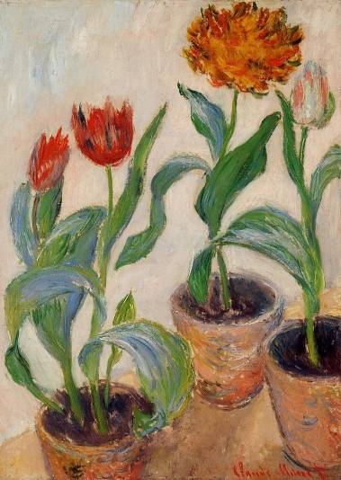 Claude Monet - Three Pots of Tulips