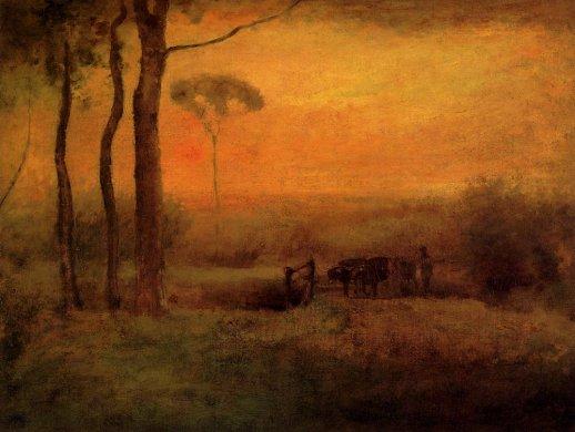George Innes - Pastoral Landscape At Sunset