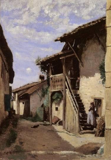 Jean-Baptiste-Camille Corot - A Village Steeet, Dardagny