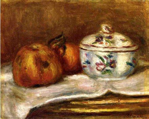 Pierre-Auguste Renoir - Sugar Bowl, Apple and Orange