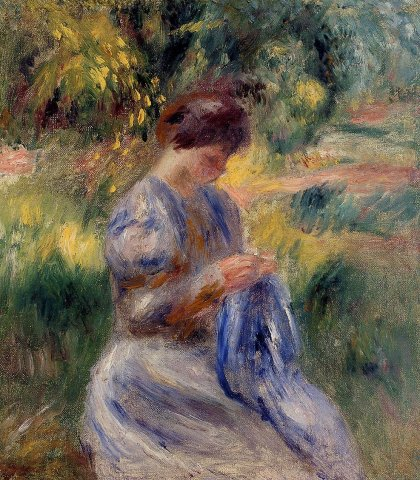 Pierre-Auguste Renoir - The Embroiderer aka Woman Embroidering in a Garden