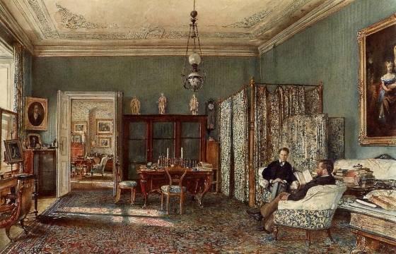 Rudolf von Alt - The Morning Room of the Palais Lanckoronski, Vienna
