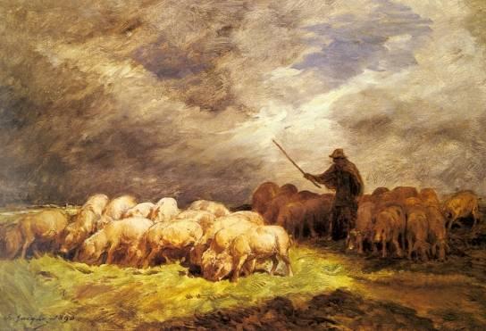 Charles Emile Jacque - The Swineherd