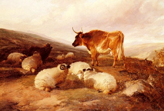 Thomas Sidney Cooper - Rams And A Bull In A Highland Landscape