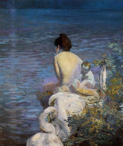 Bather with Child and Swan by the Sea
