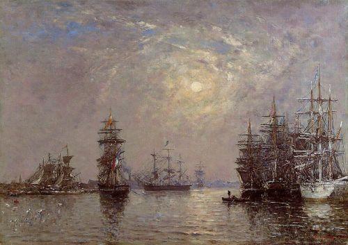 Le Havre, European Basin, Sailing Ships at Anchor, Sunset