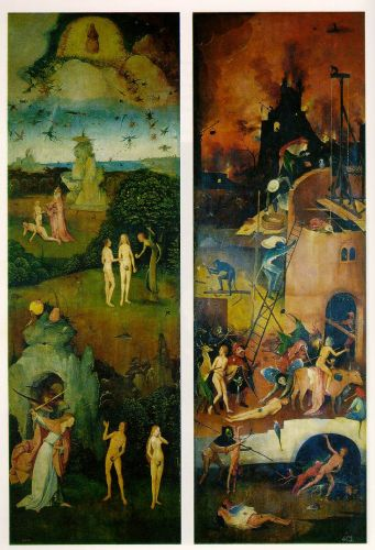 Paradise and Hell, left and right panels of a triptych