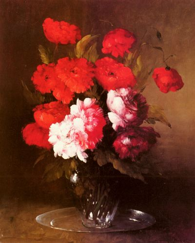 Pink Peonies and Poppies in a Glass Vase