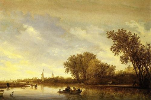 A River Landscape with Boats and Chateau