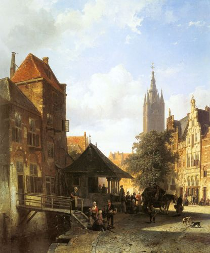 Figures In A Street In Delft