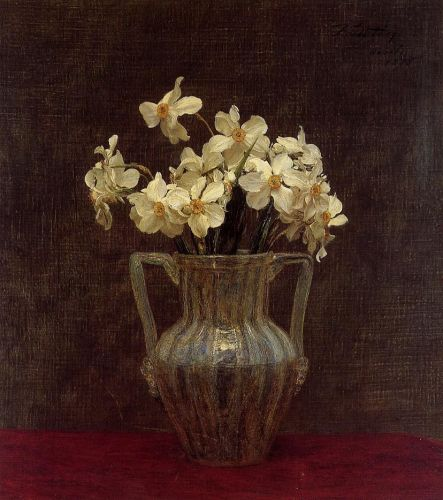 Narcisses in an Opaline Glass Vase