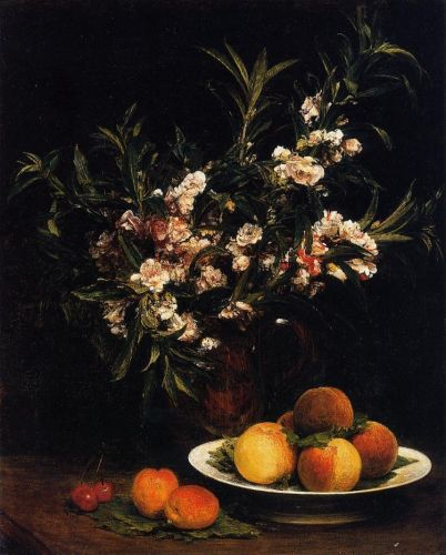 Still Life - Balsimines, Peaches and Apricots