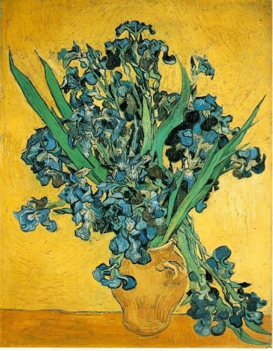 Still Life - Vase with Irises Against a Yellow Background