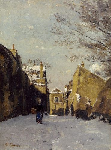 Street in Montmartre, Snow Effect