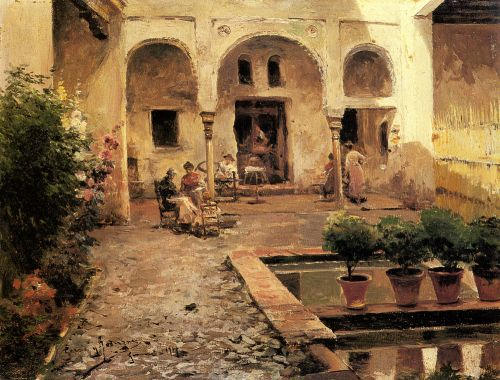 Figures in a Spanish Courtyard