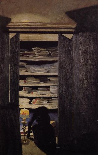 Woman Searching through a Cupboard