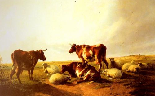Cattle and Sheep in a Landscape