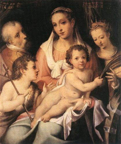 Holy Family with the Infant St John the Baptist and St Cathe