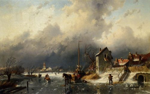 A Frozen River Landscape with a Horsedrawn Sleigh