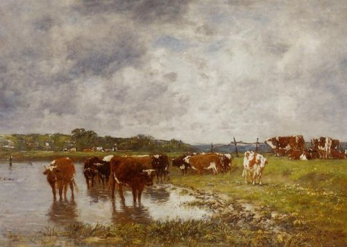 Cows in a Meadow on the Banks of the Toques