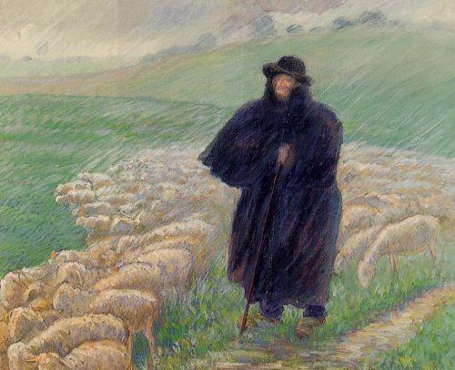 Shepherd in a Downpour