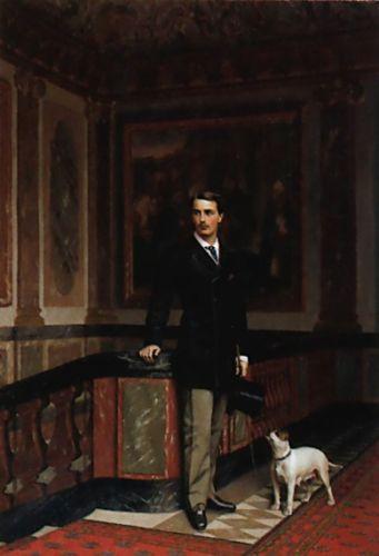 The Duc de La Rochefoucauld-Doudeauville with his Terrier