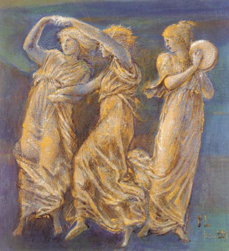 Three Female Figures, Dancing And Playing
