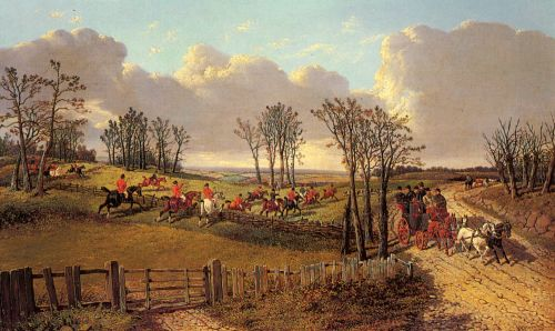A Hunting Scene with a Coach and Four on the Open Road