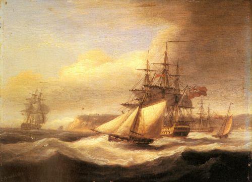 Naval ships setting sail