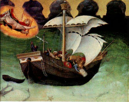 Quaratesi Altarpiece - St. Nicholas saves a storm-tossed shi