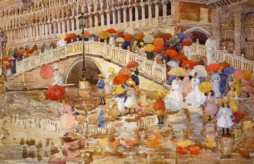 Umbrellas in the Rain, Venice