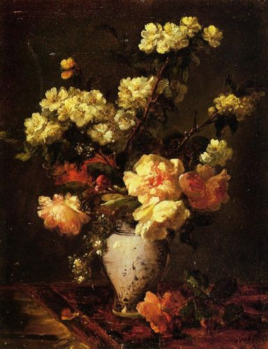Peonies and Apple Blossoms in a Chinese Vase