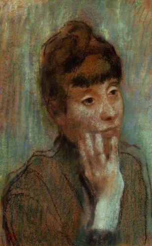Portrait of a Woman Wearing a Green Blouse