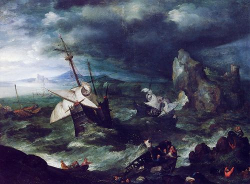 The Storm at Sea with Shipwreck