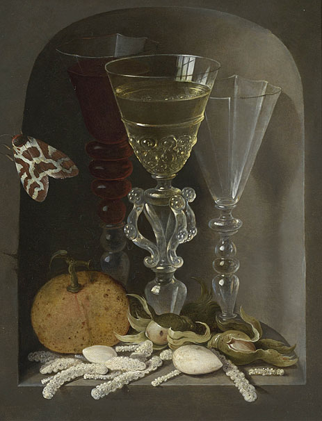 A Still Life of Three Wine Glasses, an Orange, Sweetmeats, Hazelnuts and a Moth in a Stone Niche,