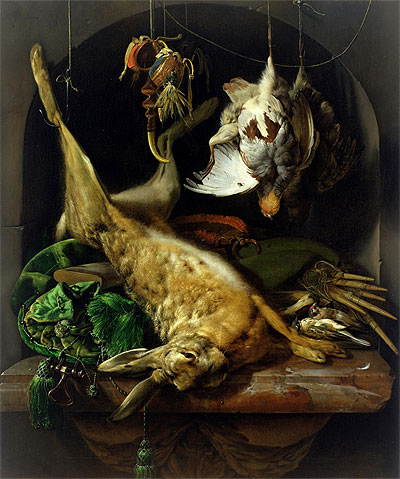 Still Life with a Dead Hare, Partridges and Other Birds in a Niche, c.1675