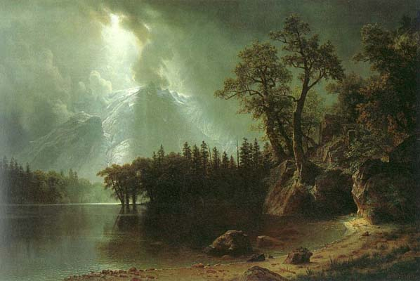Albert Bierstadt PASSING STORM OVER THE SIERRA NEVADA Oil Painting