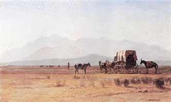 Albert Bierstadt Surveyors Wagon in the Rockies Oil Painting