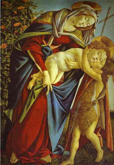Alessandro Botticelli Madonna and Child and the Young St. John the Baptist. Oil Painting