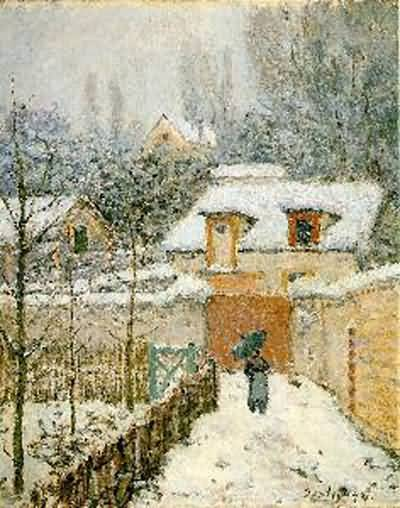 Alfred Sisley Snow at Louvecien Oil Painting