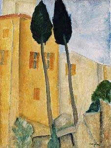 Amedeo Modigliani Cypress Trees and Houses Oil Painting